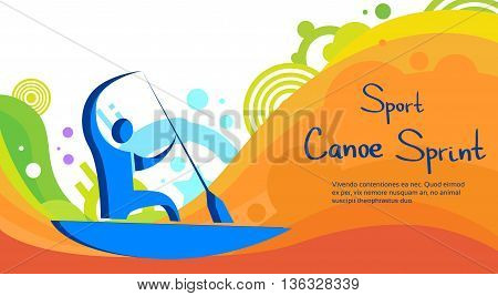 Canoe Sprint Athlete Sport Competition Colorful Banner Flat Vector Illustration