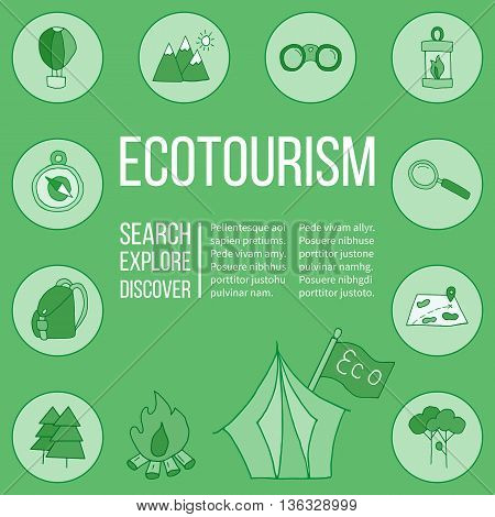 Ecotourism poster template with hand drawn doodle design elements. Mountains tent backpack binocular hot air balloon camping lantern magnifying glass tree bonfire map compass flag. Vector illustration