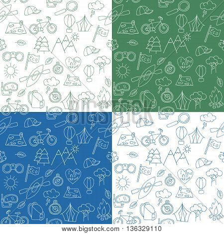Seamless pattern of hand drawn doodle ecotourism design elements. Mountains binocular baseball cap bicycle magnifying glass diving snorkel mask canoe bonfire air balloon. Vector illustration.
