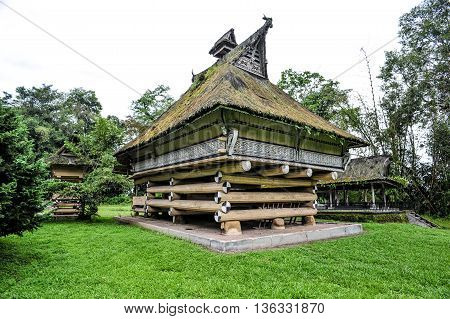 SUMATRA, INDONESIA - 22 MAY 2015 : The palace of the Batak King in Sumatra Indonesia. Batak stands for the ethnic group of people living in the northern part of Sumatra Island of Indonesia.