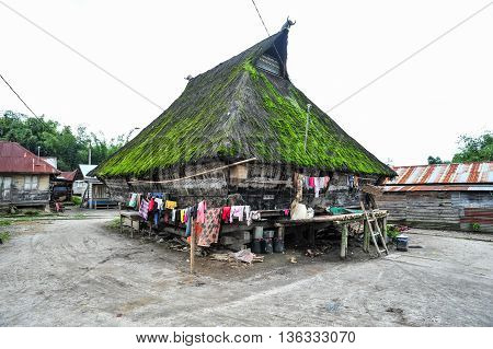 SUMATRA, INDONESIA - 23 MAY 2015 : Ethnic traditional Batak House in northern part of Sumatra Indonesia. Batak stands for the ethnic people living in the northern part of Sumatra Island of Indonesia.