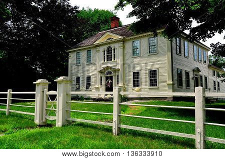 Canterbury Connecticut - July 8 2013: 18th century Georgian style Prudence Crandall Home on Route 169 founded as a school for African-American girls in 1833