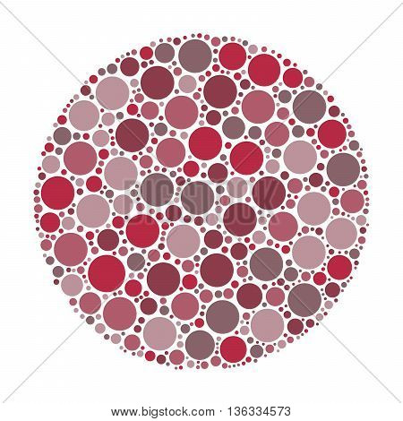 Circle made of dots in shades of maroon. Abstract vector illustration inspired by medical Ishirara test for color-blindness.