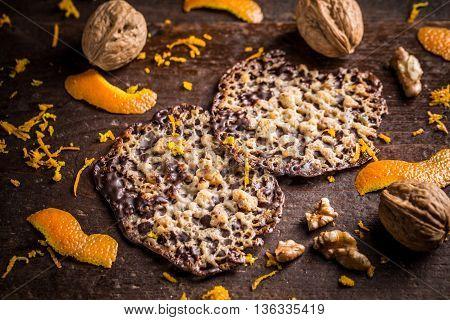 Homemade Florentine traditional almond cookies, studio shot