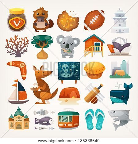 Set of Australian travel icons. Symbols of the continent. Various sights and famous elements from all parts of the island. Isolated vector illustrations.