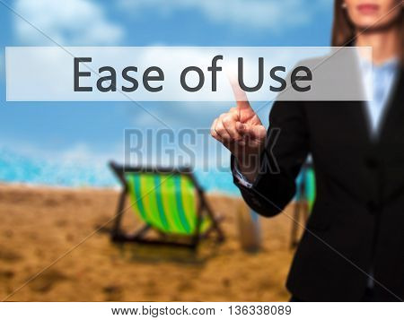 Ease Of Use - Businesswoman Hand Pressing Button On Touch Screen Interface.