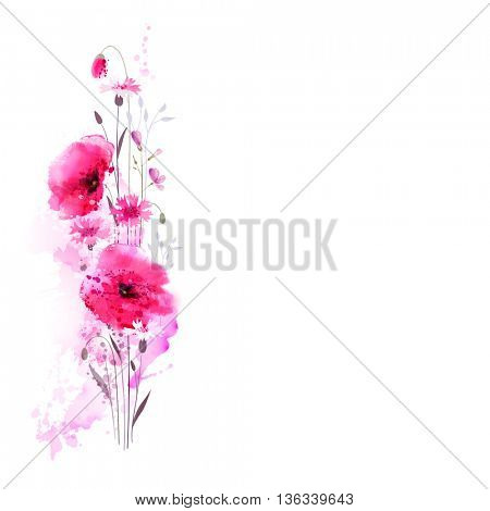 Floral bouquet with pink poppies and cornflowers for the greeting card. Watercolor imitation.
