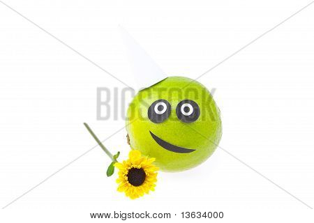 Fruit With A Person Joy Isolated On White