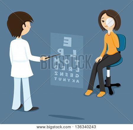 Illustration on a blue background oculist checks sight at the woman.