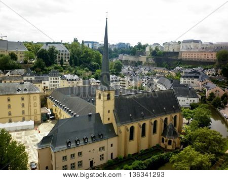 Luxemburg city hall roof view in downtown
