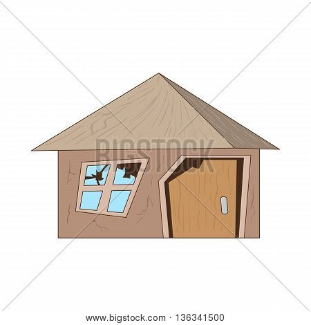 Old destroyed house icon in cartoon style on a white background