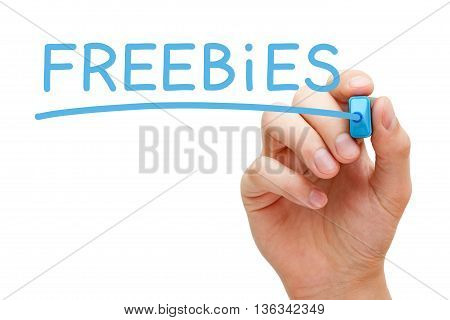 Hand writing Freebies with blue marker on transparent wipe board.