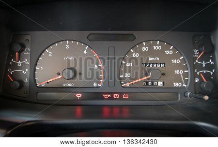Modern car illuminated dashboard closeup,Surgical, Needle, Syringe,