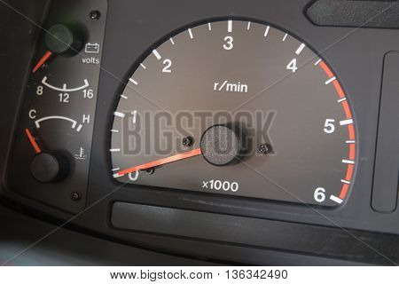 Modern car illuminated dashboard closeup, Surgical, Needle, Syringe,