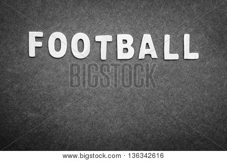 Gray background with word football on it, abstract football backdrop with text space, score board