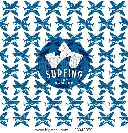 Shark surfing seamless pattern and emblem. Graphic design for t-shirt. Blue print on white background