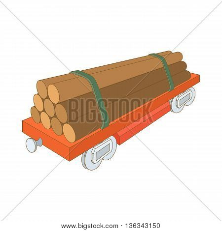Train wagon loaded with logs icon in cartoon style on a white background