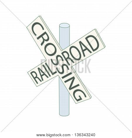 Railroad crossing sign icon in cartoon style on a white background