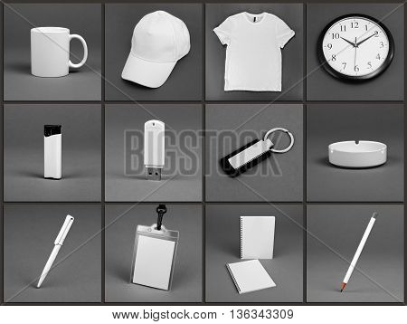 Blank stationery set for corporate identity system on gray background