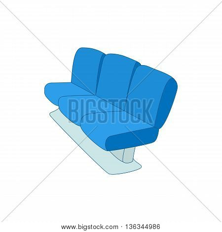 Blue airport seats icon in cartoon style on a white background