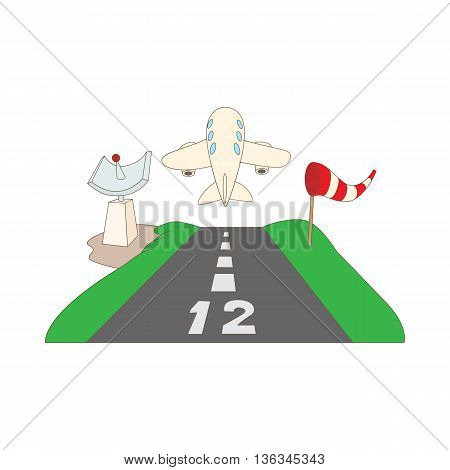 Airstrip with airplane icon in cartoon style on a white background