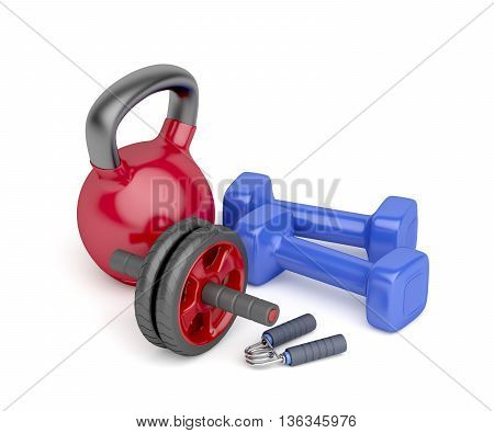 Abdominal toning wheel hand gripper pair of dumbbells and kettlebell on white background, 3D illustration