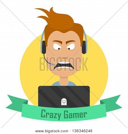 Cartoon Crazy Gamer. Angry man with a laptop or a notebook and a gaming headphone headset.
