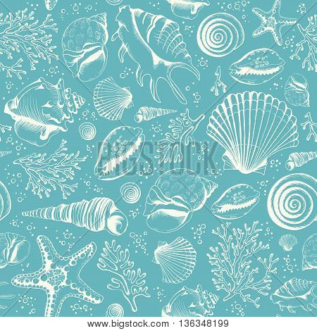 Seamless pattern with seashells corals and starfishes. Marine background. Hand drawn vector illustration in sketch style. Perfect for greetings, invitations, manufacture wrapping paper, textile, wedding and web design.