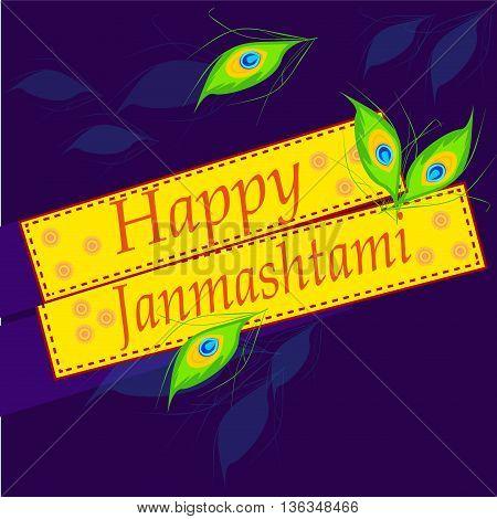 Vector illustration of Happy Janmashtami background. Janmashtami traditional religious festival krishna hindu. Worship mythology religion janmashtami mythological bhagavan handi deity graphic.