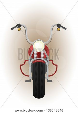 color vector illustration of motocycle, front view, bike with crash bar, leg guard
