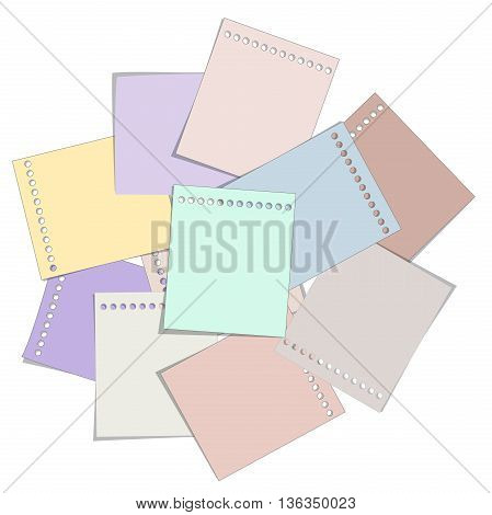 paper note soft colorful for memo text on white background vector illustration