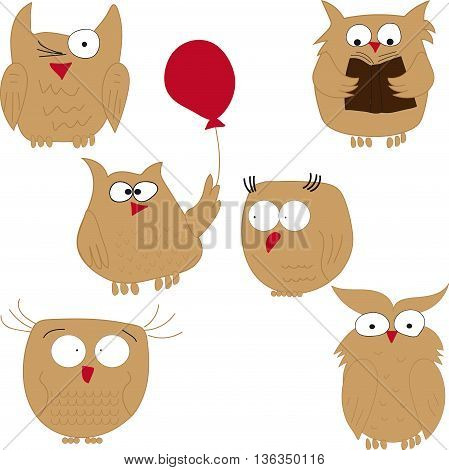 Owls. Set of funny owls. Owl reading, owl balloon, owl, owls are stupid. vector illustration