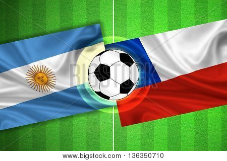 green Soccer / Football field with stripes and flags of argentina - chile and ball - 3D illustration