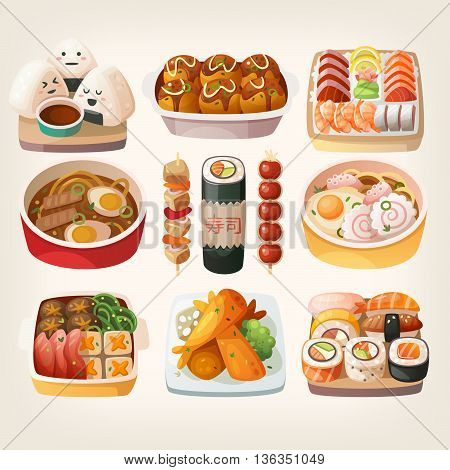 Set of realistic illustrations of japanese cuisine dishes nicely served on traditional plates. Isolated vector illustrations.