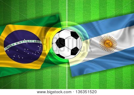 green Soccer / Football field with stripes and flags of brazil - argentina and ball - 3D illustration