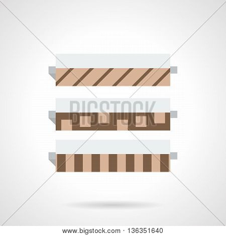 Catalog of floor covering. Rolls of linoleum with sample of pattern. Construction materials, renovation and decoration element. Flat color style vector icon.