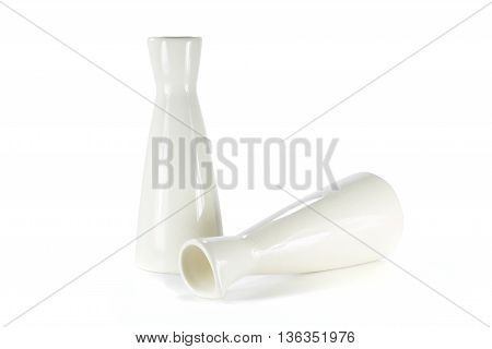 Ceramic cream jug isolated on white background. Ceramic jug isolated. classic design of Ceramic jug.