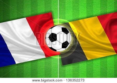 green Soccer / Football field with stripes and flags of france - belgium and ball - 3D illustration