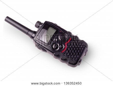 Black portable radio with antenna and indicator carved on a white background