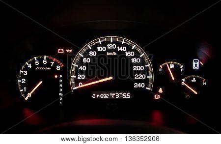 Modern car illuminated dashboard closeup. Car, Dashboard