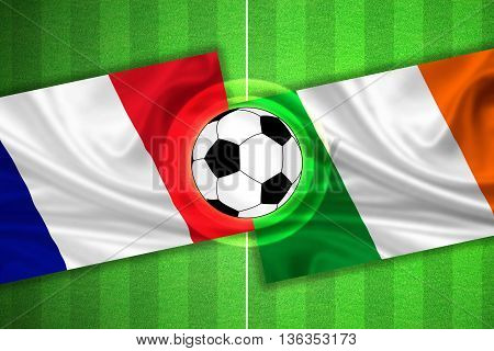 green Soccer / Football field with stripes and flags of france - ireland and ball - 3D illustration
