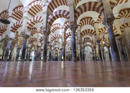 Cordoba - Spain - June 10, 2016 :arches Pillars Mezquita Cordoba Spain. Created In 785 As A Mosque,