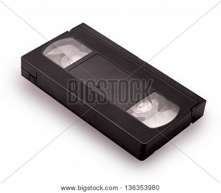 Blank vhs video cassette tape isolated on white background with clipping path