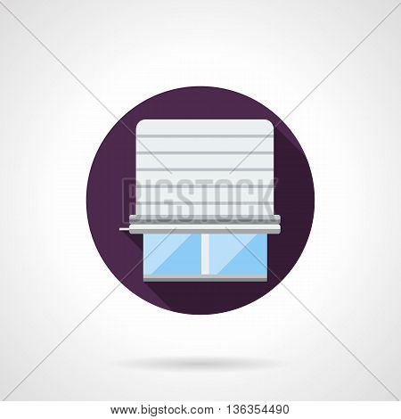 Window with white metal or plastic jalousie for protection of daylight. Curtains, blinds, shutters and shades for home and office. Round flat color style vector icon.