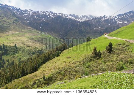 Windy roads at Zillertal valley surrounded by mountains with snow during summer in Tyrol, Austria, Europe