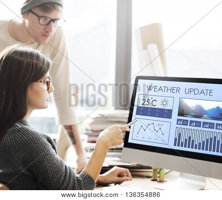 Weather Condition News Report Climate Forecasting Meteorology Temperature Concept poster
