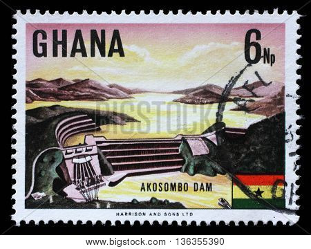 ZAGREB, CROATIA - SEPTEMBER 18: A stamp printed in Ghana shows Volta River dam and electric power station at Akosombo, circa 1967, on September 18, 2014, Zagreb, Croatia