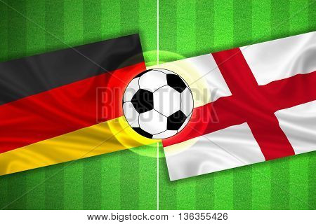 green Soccer / Football field with stripes and flags of germany - england and ball - 3D illustration