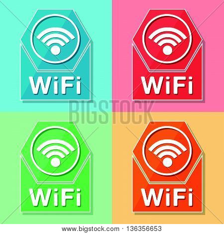 wifi sign - four colors web icons with wireless symbol, flat design, internet connection concept, vector