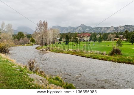 Estes Parkin with Big Thompson River in Colorado